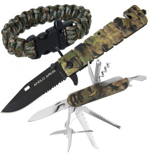 Anglo Arms Amazon Set - Camo Lock knife, Multi-Tool and Paracord Wrist Band Messerset Anglo Arms Diverses