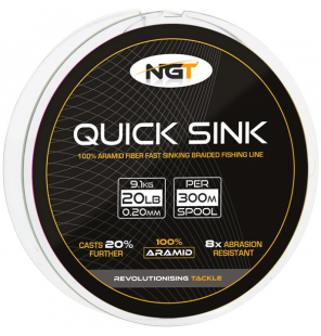 NGT 300m 20lb 'Quick Sink' Moss Green Braid 100% Aramid NGT Schnüre