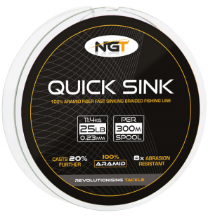 NGT 300m 25lb 'Quick Sink' Moss Green Braid NGT Schnüre