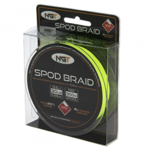 NGT Teflon Coated SPOD Braid - 30lb (300m) Fluro Yellow Floating Braid NGT Schnüre