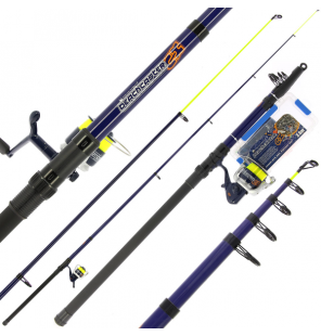 NGT Angling Pursuits Telescopic Beachcaster Combo - Telescopic Rod, Reel and Accessory Set Angling Pursuits Teleskopruten