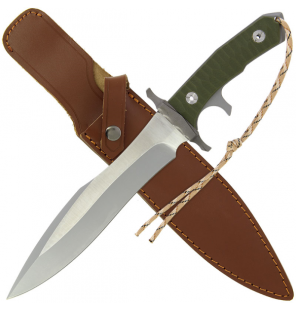 "15"" Carved G10 Handle, 6mm Blade Thickness, Supplied with Two-tone Brown Sheath Anglo Arms Messer"