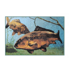 Bivvy Mat Karpfen unter Wasser - Fußmatte |60x40cm  Bivvy Mat - Fußmatten