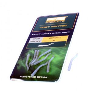 PB Products X-Stiff Aligner Short Shank - Gravel 8pcs PB Products Vorfachmaterial & Montage-Zubehör