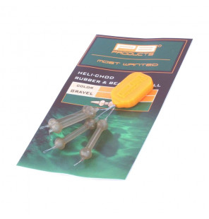 PB Products Heli-Chod Rubber & Beads X-Small - Gravel 4pcs PB Products Vorfachmaterial & Montage-Zubehör