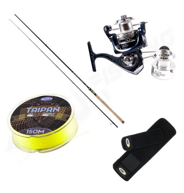 Blue Diamond Premium Spin Set Hecht/Zander Angelrutenset mit Rolle & Schnur JJ-Fishing Spinnruten