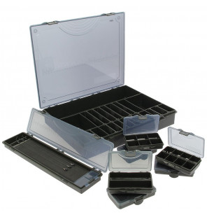 NGT 7+1 Large Deluxe Storage Tackle Box with Six Bit Boxes and Hair Rig Holder NGT Tackle Boxen